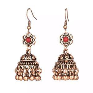 BOGO Copper & Rust Tibetan Bell Boho Drop Earrings